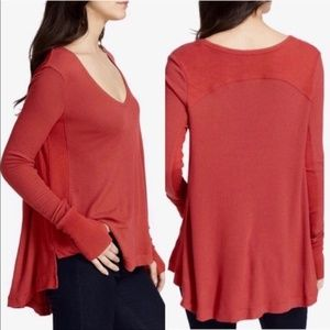 We The Free People Malibu Thermal Top Washed Red